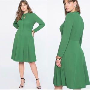 Eloquii Green Tie Neck Midi Dress-NWT Size 18